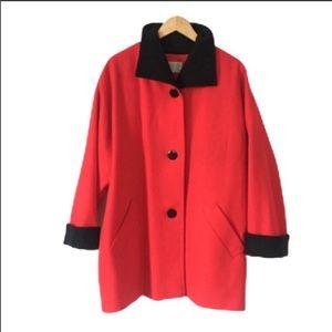 Vintage Pendleton Wool Coat Red Black XL 14 Womens